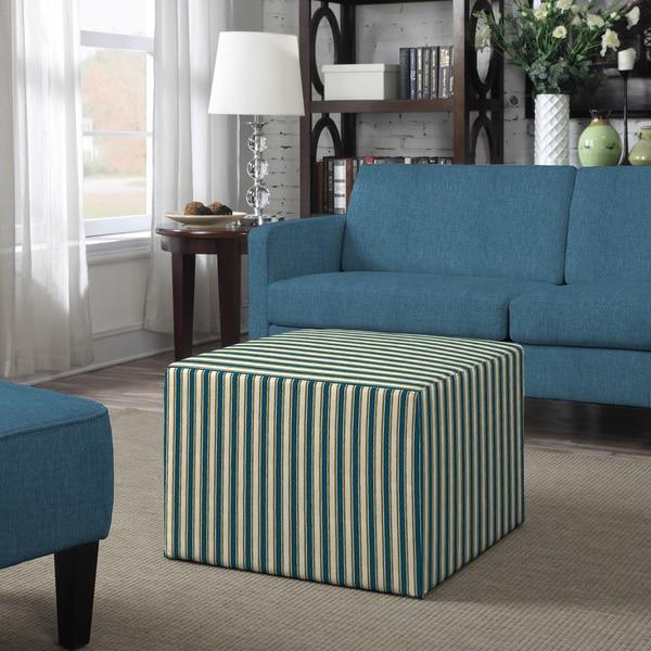 Better Living Brayden Blue Stripe Large Cube Ottoman