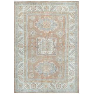 Herat Oriental Afghan Hand-knotted Tribal Kazak Beige/ Light Blue Wool Rug (5'5 x 7'9)