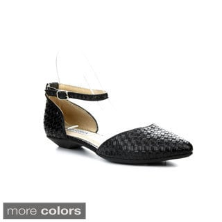 CAPE ROBBIN BELITA-WED-2 Women's Ankle Strap Crocodile Skin Flats