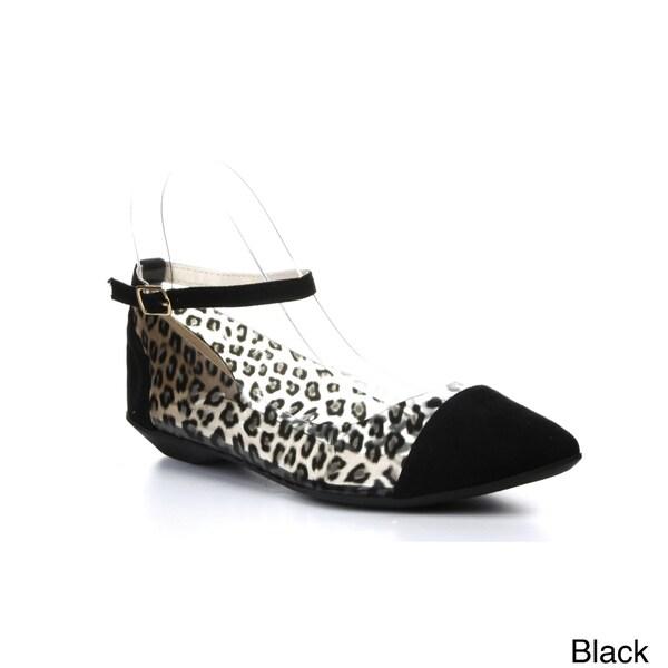 CAPE ROBBIN BELINDA-JYX-2 Women's Ankle Strap Leopard Print Flats