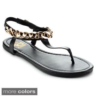 BETANI AMANDA-30 Women's Hot Metal Chain T-strap Flat Sandals