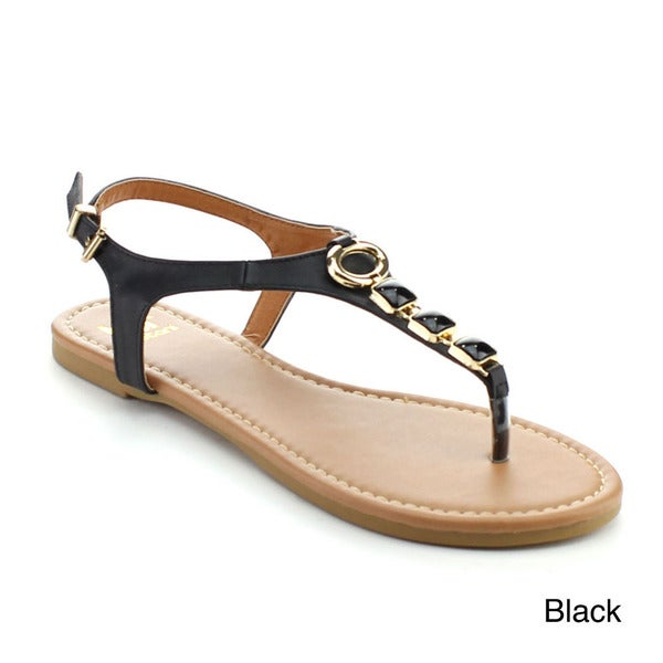 BETANI AMANDA-28 Women's Clear Low Heel Beaded Sandals