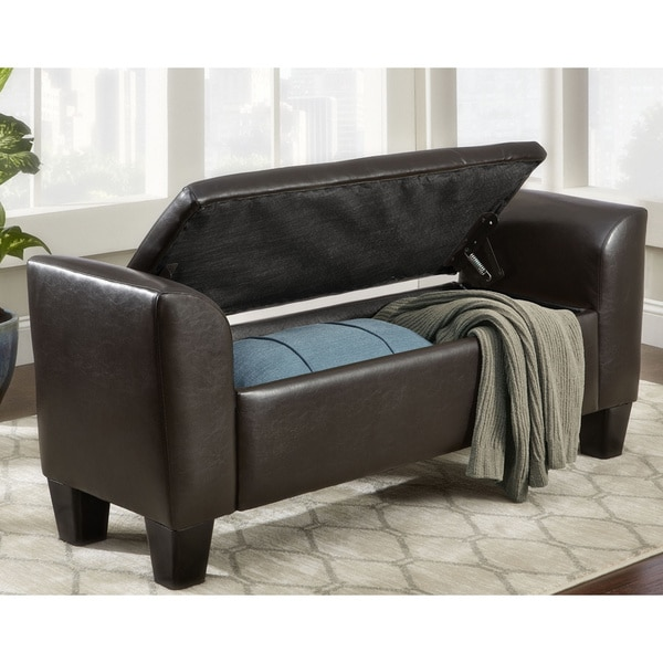 Somette Claire Bonded Leather Storage Bench