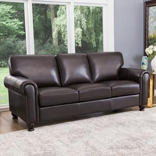 Abbyson Living London Premium Top-grain Leather Sofa