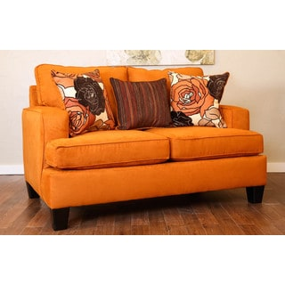 Somette Evan Orange Studio Sofa with Three Accent Pillows