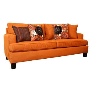 Somette Evan Orange Sofa with 4 Accent Pillows