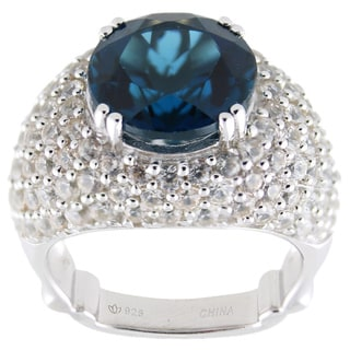 Dallas Prince Sterling Silver London Blue Topaz and White Zircon Ring