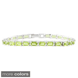 Sterling Silver Step Cut Gemstone Line Bracelet