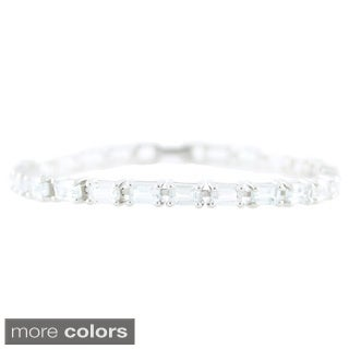 Sterling Silver Emerald-cut Gemstone Link Bracelet