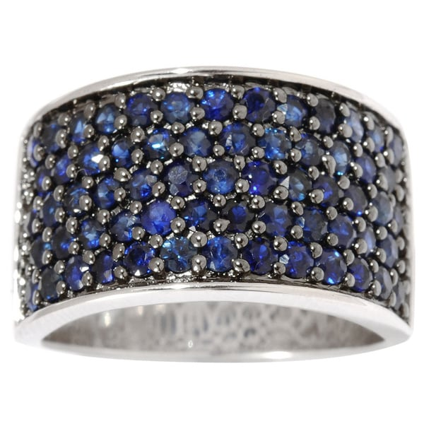 Sterling Silver Pave Sapphire Wide Band Ring