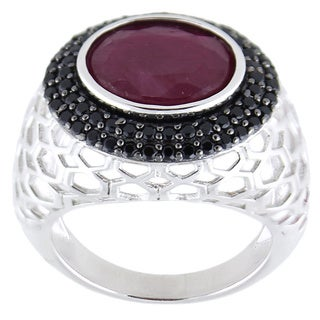 Sterling Silver Oval Madurai Ruby Black Spinel Ring