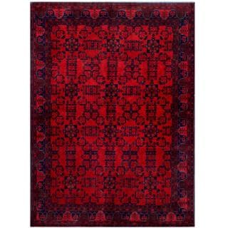 Herat Oriental Afghan Hand-knotted Tribal Khal Mohammadi Red/ Burgundy Wool Rug (5'7 x 7'8)