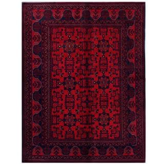 Herat Oriental Afghan Hand-knotted Tribal Khal Mohammadi Red/ Black Wool Rug (5'8 x 7'6)