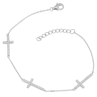 Fremada Rhodium-plated Sterling Silver Cubic Zirconia Adjustable Cross Station Bracelet