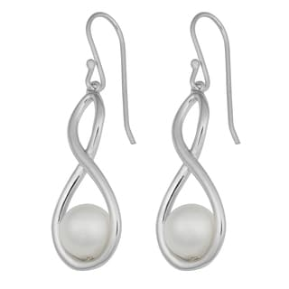 Fremada Rhodium-plated Sterling Silver Faux Pearl Infinity Dangle Earrings