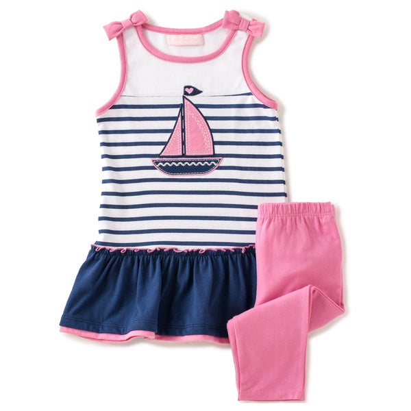 KHQ Toddler Girl 2-piece Navy/ Pink Knit Capri Set