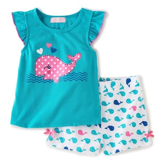 KHQ Infant Girl 2-piece Whale Short Set