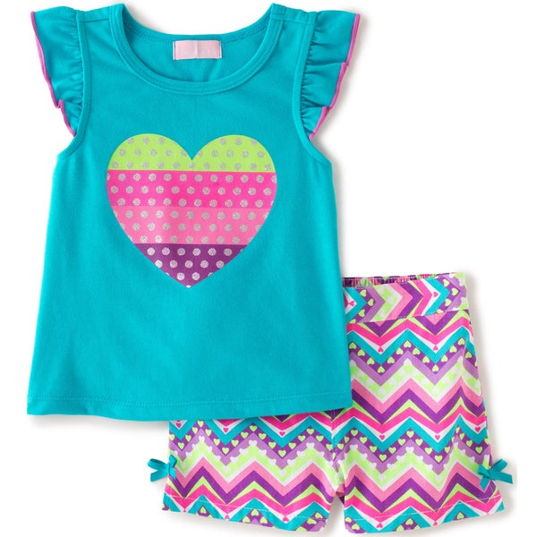 KHQ Toddler Girl Hearts Stripe 2-piece Blue Knit/ Twill Short Set
