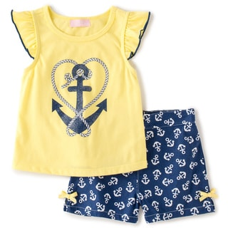 Toddler Girl 2-piece Yellow Knit/ Plaid or Twill Shortset