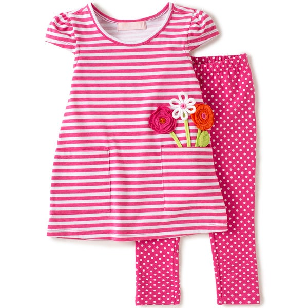 Infant Girl 2-piece Pink Knit Capri Set