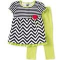 KHQ Toddler Girl 2-piece White/ Grey Knit Capri Set