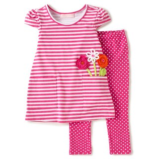 KHQ Toddler Girl 2-piece Pink Knit Capri Set