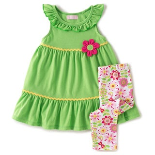 KHQ Toddler Girl 2-piece Green Knit Capri Set