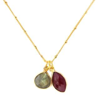 Alchemy Jewelry 22k Golplated Labradorite and Ruby Necklace