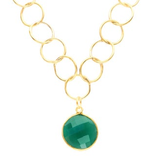 Alchemy Jewelry Gold Overlay Green Onyx Chain Link Necklace