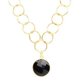 Alchemy Jewelry Gold Overlay Black Onyx Link Necklace