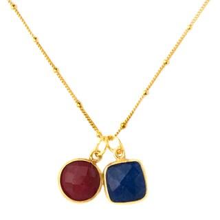 Alchemy Jewelry 22k Golplated Ruby and Sapphire Necklace