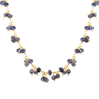 Alchemy Jewelry 22k Gold Overlay Iolite Cluster Bead Necklace