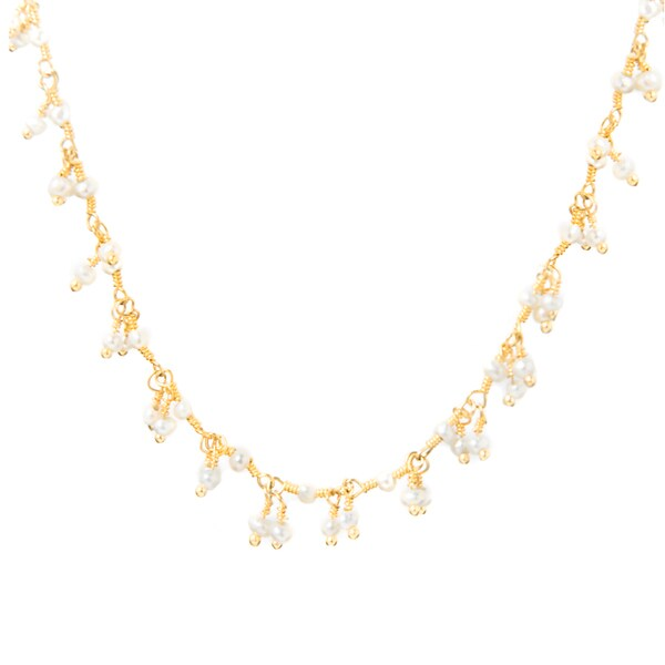Alchemy Jewelry 22k Gold Overlay Pearl Cluster Bead Necklace