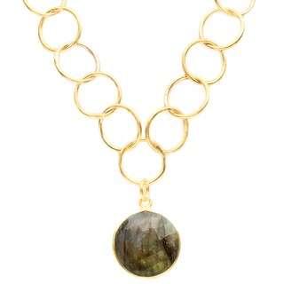 Alchemy Jewelry Gold Overlay Green Gemstone Chain Link Necklace