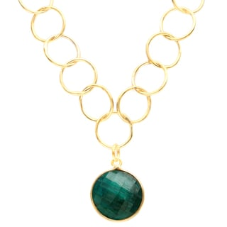Alchemy Jewelry Gold Overlay Emerald Chain Link Necklace