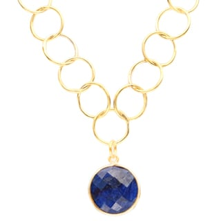 Alchemy Jewelry Gold Overlay Blue Gemstone Chain Link Necklace