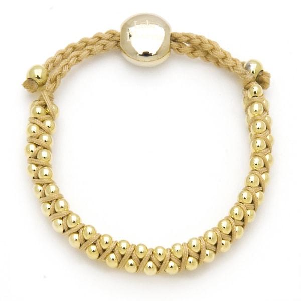 Alchemy Jewelry Goldtone Bead Flaxen Woven Bracelet