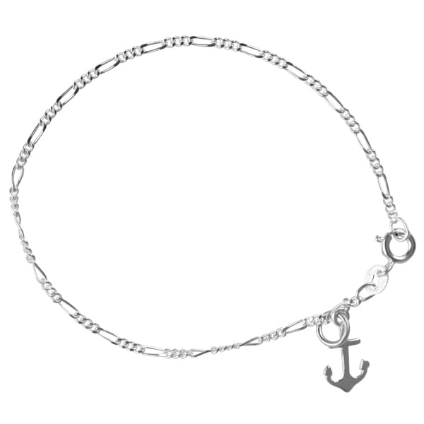 Journee Collection Sterling Silver Anchor Charm Bracelet