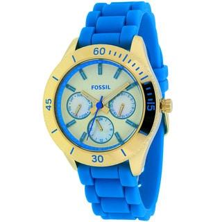 Fossil Women's ES3534 Stella Round Blue Silicone Strap Watch