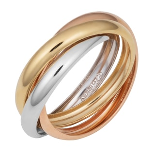 Fremada 14k Tri-color Gold High Polish Triple Band Rolling Ring (Size 7)