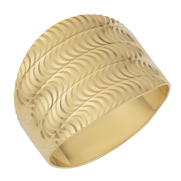 Fremada 14k Yellow Gold Diamond-cut Finish Wide Band Ring (Size 7)