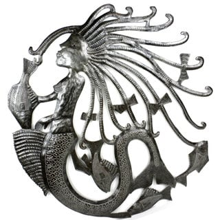 Handmade Mermaid and Fish 24-inch Metal Art (Haiti)