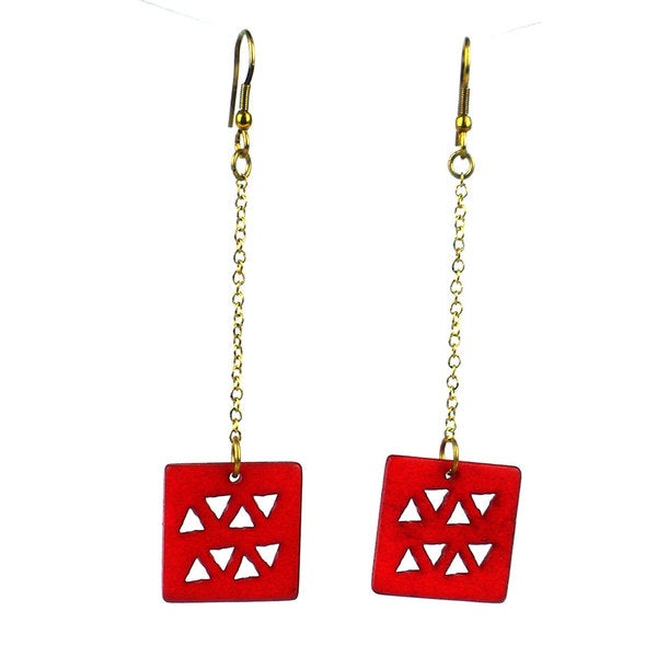 Square Drop Bone Earrings - Mata Traders (India)