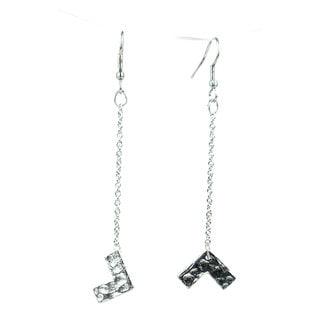 Silvertone Right Angle Earrings - Mata Traders (India)