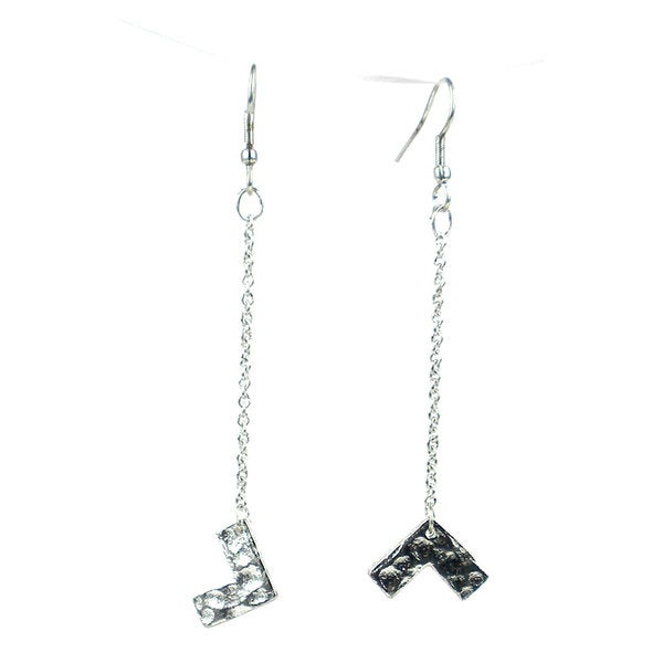 Silvertone Right Angle Earrings - Mata Traders (India)