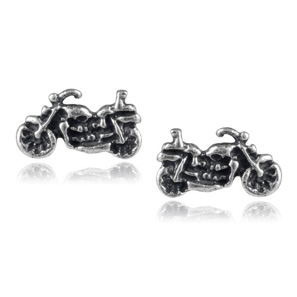 Journee Collection Sterling Silver Motorcycle Stud Earrings