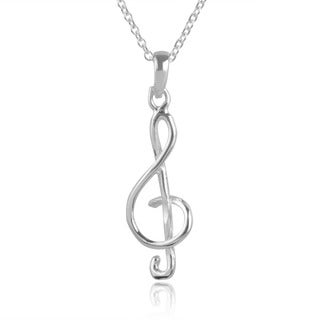 Journee Collection Sterling Silver Music Note Pendant