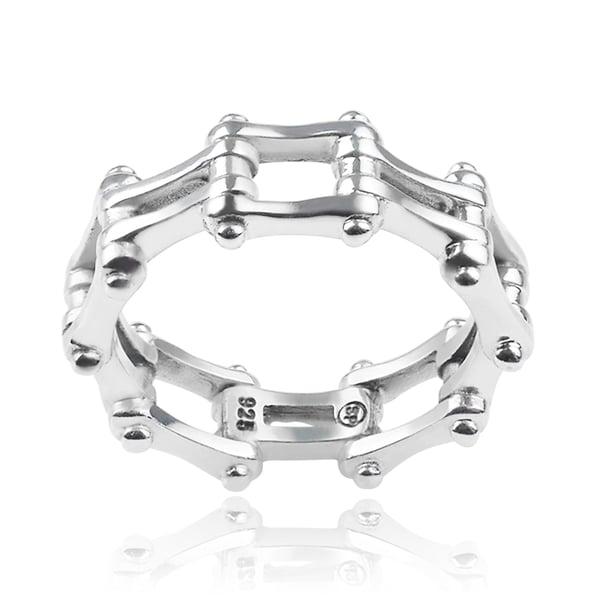 Vance Co. Sterling Silver Men's Bike Chain Ring
