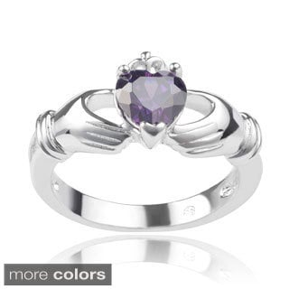 Journee Collection Sterling Silver Cubic Zirconia Claddagh Ring
