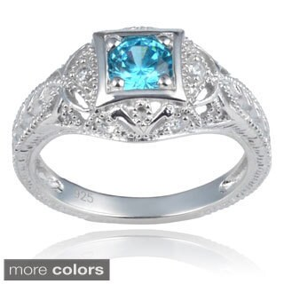 Journee Collection Sterling Silver Cubic Zirconia Vintage Style Engagement Ring